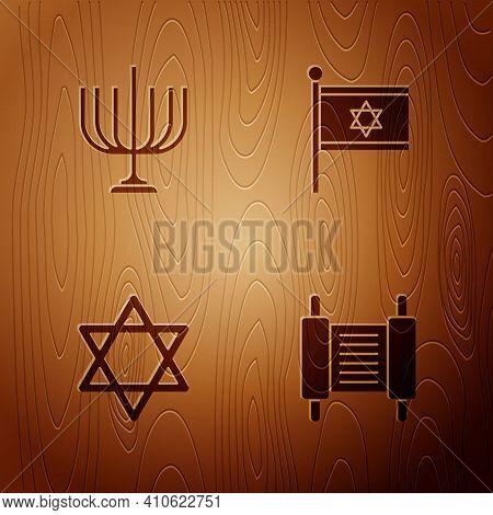 Set Torah Scroll, Hanukkah Menorah, Star Of David And Flag Israel On Wooden Background. Vector