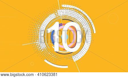 Yellow Background With The Number Ten And Circles