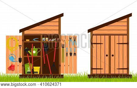 Wooden Shed With Closed And Open Doors. Gardening Tools Are Stacked Inside The Shed And Hung On The