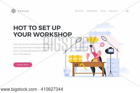 Create Your Own Workshop Life Hack Home Page Banner. Male Character Broadcasting Online From His Car