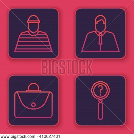 Set Line Prisoner, Briefcase, Lawyer, Attorney, Jurist And Magnifying Glass With Search. Blue Square