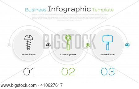 Set Line Metallic Screw, Wrench Spanner And Sledgehammer. Business Infographic Template. Vector