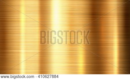 Shiny Brushed Metallic Gold Background Texture. Bright Polished Metal Bronze Brass Plate. Sheet Meta