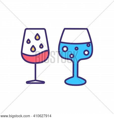 Evaluating Wine Appearance Rgb Color Icon. Identifying Beverage Defects. Judging Alcoholic Condition