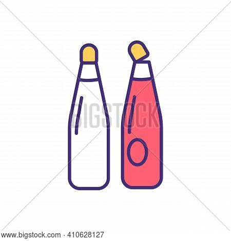 Wine Oxidation Rgb Color Icon. Letting Oxygen Into Bottle. Alcoholic Drinks With Color And Flavor Lo