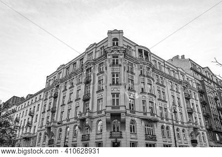 Beautiful Old Historic Tenement House In Warsaw Downtown With The Symbol Of Women's Protests In The