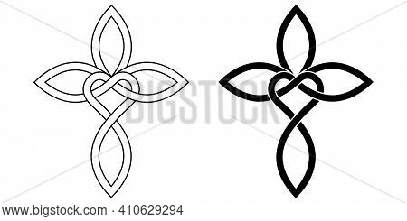 Sign Of Infinite Love For God, Heart With Infinity Symbol And Cross, Vector Tattoo Logo Love And Fai