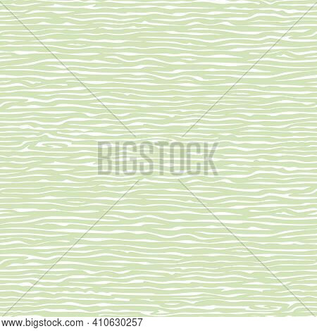 Seamless Background With Striped Pattern. Irregular White, Light Green Stripes. Water Ripples, Wood.
