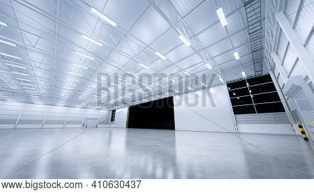 3d Rendering Of Automatic Sliding Door For Safety And Protection Building From Wind, Fire, Forced En