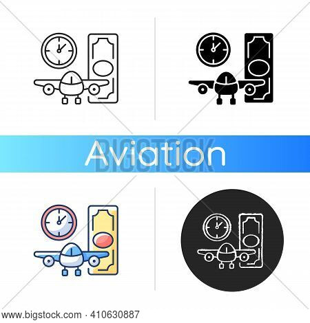 Aircraft Rental Icon. Civil Aviation. Ability To Get Plane For Rent. Light Aircraft. Airlines Optimi
