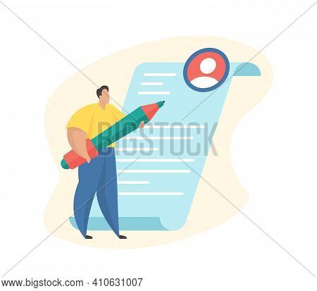 Resume Writing. Cartoon Character Standing Next To The Resume Sheet