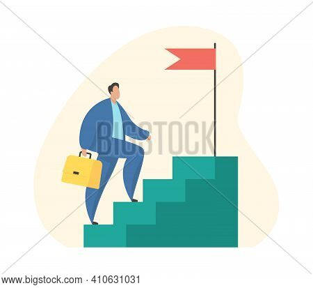 Success Stairs. Businessman Steps Up Career Stairs. Vector Illustration