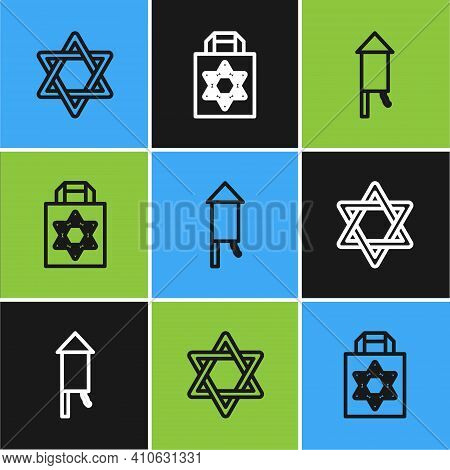 Set Line Star Of David, Firework Rocket And Shopping Bag With Star David Icon. Vector