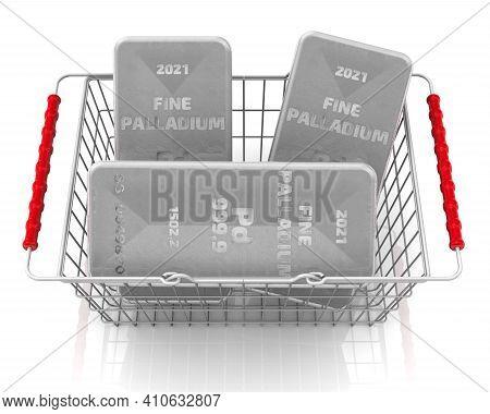 Buying Palladium Ingots. There Are Three Ingots Of 999.9 Fine Palladium In The Grocery Basket. 3d Il