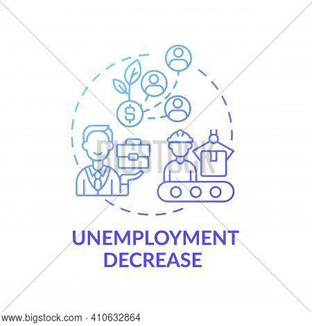 Unemployment Decrease Concept Icon. Global Economic Crisis And Gainful Work Idea Thin Line Illustrat