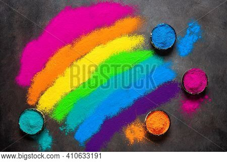 Colorful Holi Powders Background. Holi Colored Paints In A Bowl. Holi Traditional Festival. Top View