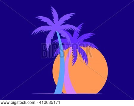 Two Palm Trees At Sunset. Romantic Tropical Sunset. 80s Retro Style. Design For Advertising Brochure