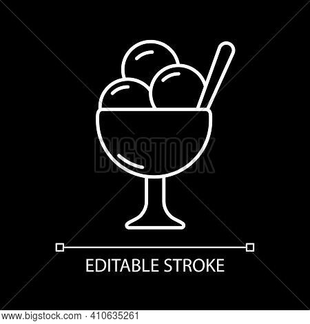Ice Cream In Bowl White Linear Icon For Dark Theme. Sundae Treat. Gelato Scoops In Cup. Thin Line Cu