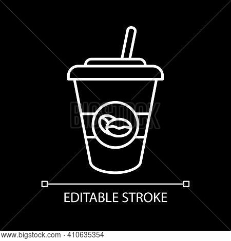 Ice Latte White Linear Icon For Dark Theme. Coffee Drink In Takeout Cup. Americano To Go With Straw.