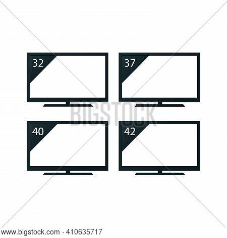 Tv Set Icon, Vector Illustration Set Of Tv Size On White Background Flat Style.