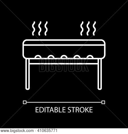 Barbecue Grill White Linear Icon For Dark Theme. Outdoor Cooking Appliance. Oven For Cookery. Thin L