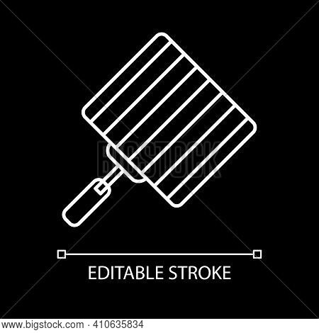 Grill Grate White Linear Icon For Dark Theme. Barbecue Grid. Bbq Appliance. Utensil For Cookery. Thi