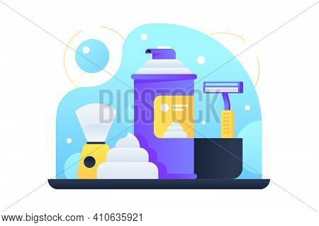 Men Care Products Vector Illustration. Shaving Lather Cream Shaver Preshave Or Aftershave Products F