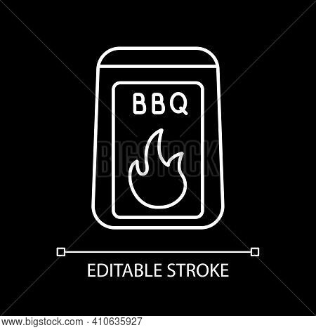 Barbecue Starter Supply White Linear Icon For Dark Theme. Barbeque Cooking. Bbq And Grilling. Thin L