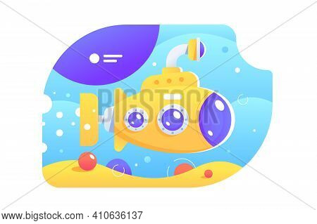 Bright Colourful Submarine Vector Illustration. Yellow Submarine With Periscope Under Water Flat Sty