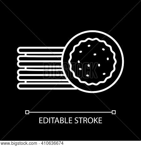 Bake Pie In Oven White Linear Icon For Dark Theme. Pastry Preparation. Homemade Pastry. Thin Line Cu