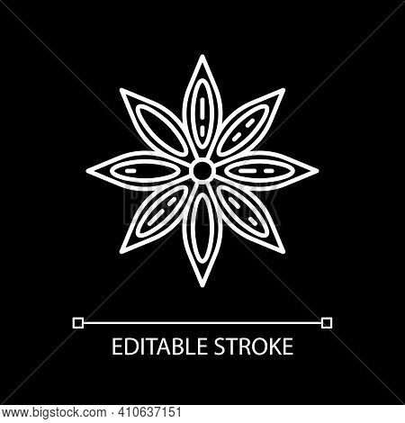 Star Anise White Linear Icon For Dark Theme. Seasoning For Flavor. For Mulled Wine. Thin Line Custom