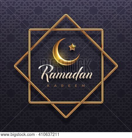 Ramadan Kareem Vector Illustration. Ramadan Greeting Card With Golden Crescent And Frame On A Arabic
