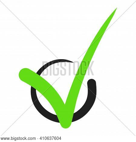 Check Mark Stickers. Vector. Sign To Indicate Consent Or Inclusion