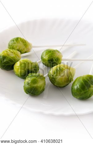 Set Of Brussel Sprouts With Lollipop Sticks