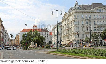 Vienna, Austria - July 12, 2015: Dr. Karl Lueger Platz With Monument Landmark At Stubenring In Wien,