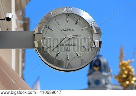 Vienna, Austria - July 11, 2015: Omega Constellation Silver Watch Sign At Building In Wien.