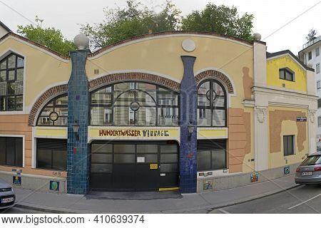Vienna, Austria - July 12, 2015: Famous Landmark Art Village Tourist Attraction By Architect Hundert