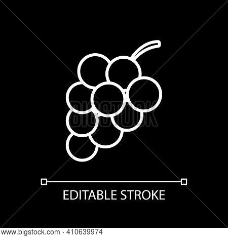 Grape White Linear Icon For Dark Theme. Fresh Fruit. Winemaking Product. Nutrient Food. Thin Line Cu