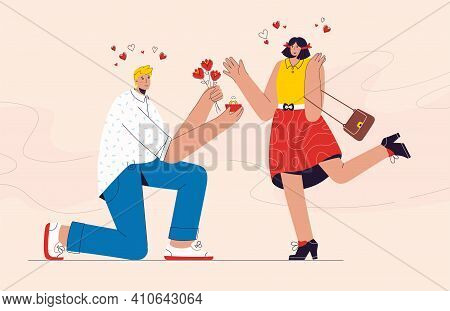 Happy Man Proposes Marriage To His Girlfriend