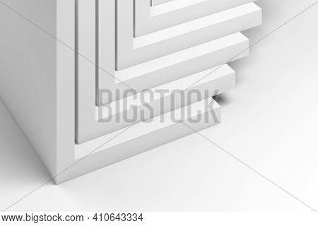 Abstract Three Dimensional White Geometric Installation. Stacked Corners, Cgi Background Pattern. 3d