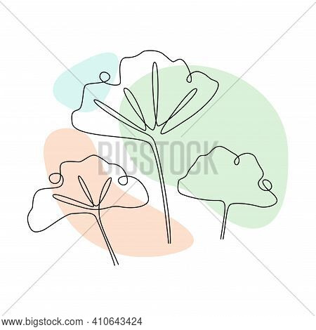 Ginkgo Biloba Continuous One Line Drawing With Abstract Pastel Shape. Modern Botany Minimalist Poste