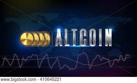 Abstract Futuristic Technology Background Of Altcoin Digital Cryptocurrency And Stochastic Market Gr