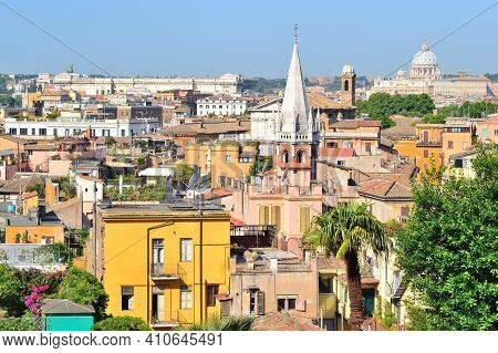 Italy. View Of Rome From Above On A Sunny Summer Day
