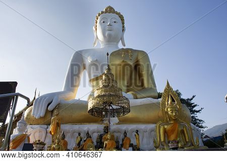 Big Golden Buddha Image Statue Of Wat Phra That Doi Kham Or Temple Of The Golden Mountain For Thai P
