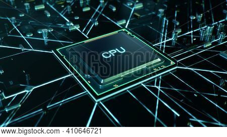 Technological Background With Cpu And Circuit Board. Flying Cpu And Installation In Center Circuit B