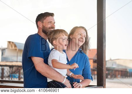 Mother Father Kid Spending Time Together Family Vacation Parent Dad Mom Walking With Son Enjoying Se