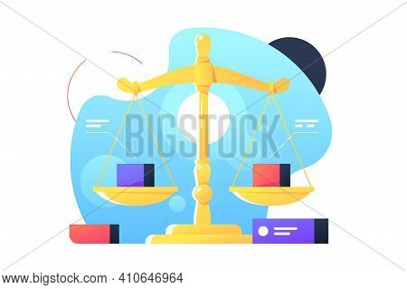 Red And Blue Cubic Object On Libra Or Scales. Isolated Icon Concept Of Physical Measuring Using Tool