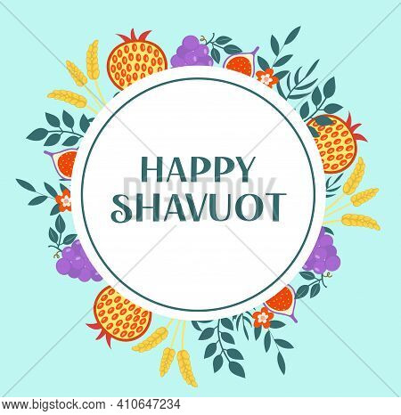 Happy Shavuot Greeting Card, Poster, Invitation, Flyer. Shavuot Template For Your Design. Jewish Hol