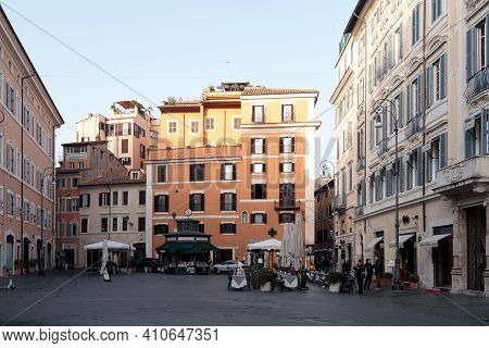 Rome, Italy - February 25, 2021: Piazza Di San Lorenzo In Lucina Located In The Area Of The Trident