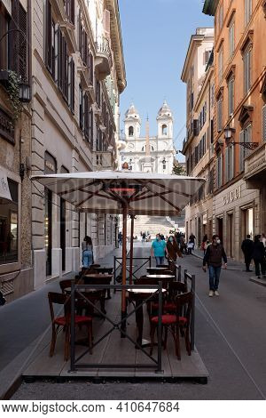 Rome, Italy - February 25 2021: Antico Caffe Greco Is A Historic Landmark Cafe Which Opened In 1760